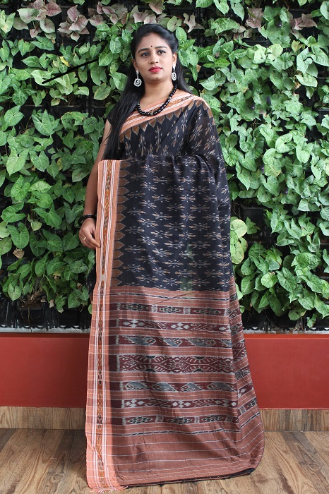 Orissa Ikat Black and goldochre Border Deha Banda Cotton Saree 3