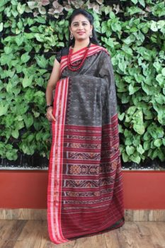 Orissa Ikat Dark Gray With Red Border Deha Banda Cotton Saree 1
