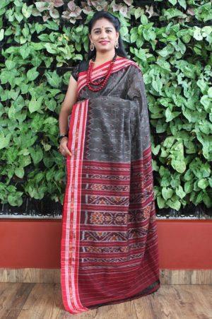 Orissa Ikat Dark Gray With Red Border Deha Banda Cotton Saree 1