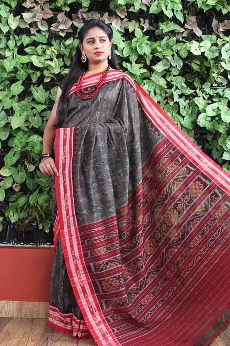 Orissa Ikat Dark Gray With Red Border Deha Banda Cotton Saree 2