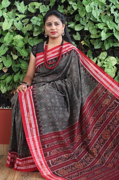 Orissa Ikat Dark Gray With Red Border Deha Banda Cotton Saree 4
