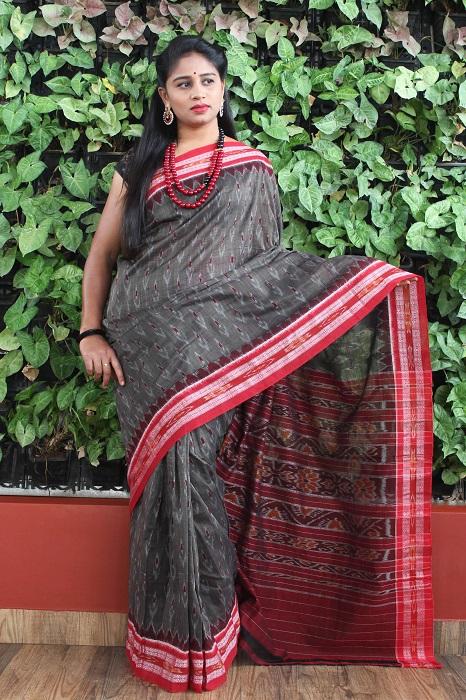 Orissa Ikat Dark Gray With Red Border Deha Banda Cotton Saree 5