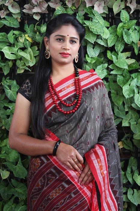 Orissa Ikat Dark Gray With Red Border Deha Banda Cotton Saree 6