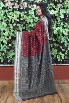 Orissa Ikat Maroon With Gray Border Deha Banda Cotton Saree 1