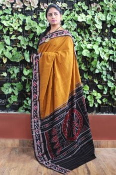Orissa Ikat Mustard With Black Border Pasapali Butti Cotton Saree 1