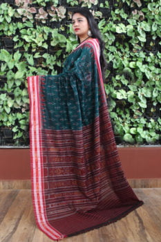 Orissa Ikat Ocean Green With Red Border Deha Banda Cotton Saree 1