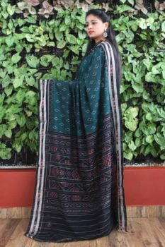 Orissa Ikat Peacock Green With Black Border Deha Banda Cotton Saree 1
