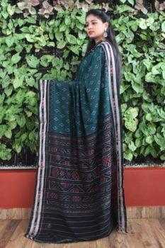Orissa Ikat Peacock Green With Black Border Deha Banda Cotton Saree 1