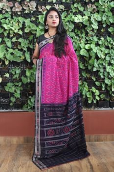 Orissa Ikat Pink With Black Border Deha Banda Cotton Saree 1
