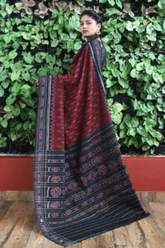 Orissa Ikat Red With Black Border Deha Banda Cotton Saree 1