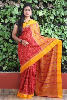 Orissa Ikat Red With Mustard Border Deha Banda Cotton Saree 1
