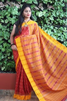 Orissa Ikat Red With Mustard Border Deha Banda Cotton Saree 2