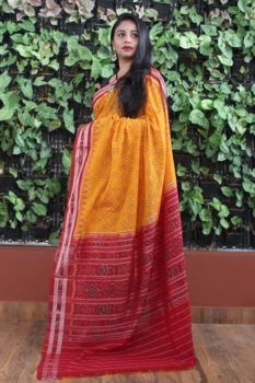 Orissa Ikat Yellow and Red Border Deha Banda Cotton Saree 1