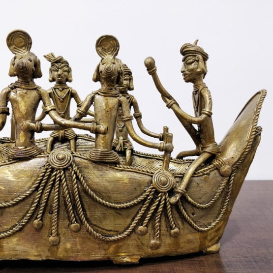 Bastar Dhokra Art Tribal Swan Boat Showpiece 9