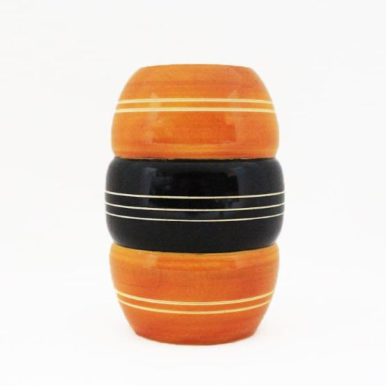 Channapatna Eco-friendly Dome Shape Groved Pen Stand (Yellow-Black) 3