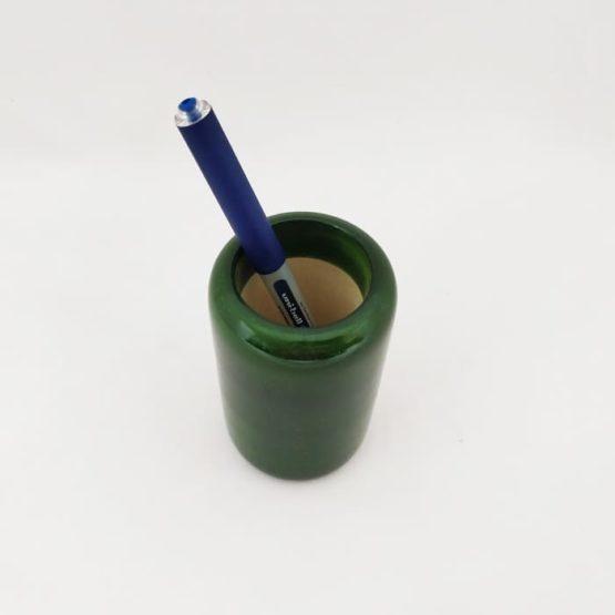 Channapatna Eco-friendly Flat Shape Glass Pen Stand (Green) 3