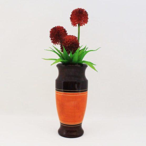 Channapatna Eco-friendly Flower Vase - Brown-Orange 4