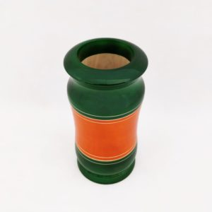Channapatna Eco-friendly Flower Vase - Green-Orange 2