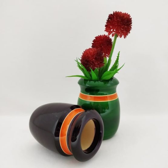 Channapatna Eco-friendly Flower Vase Set of 2 - Black & Green 2