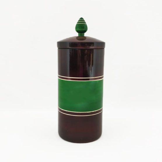 Channapatna Eco-friendly Medium Jar With Lid (Brown and Green) 1