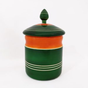 Channapatna Eco-friendly Medium Jar With Lid (Green and Orange) 1