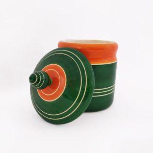Channapatna Eco-friendly Medium Jar With Lid (Green and Orange) 2