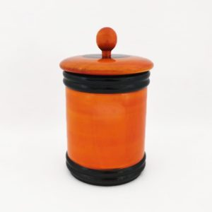 Channapatna Eco-friendly Medium Jar With Lid (Orange and Black) 1