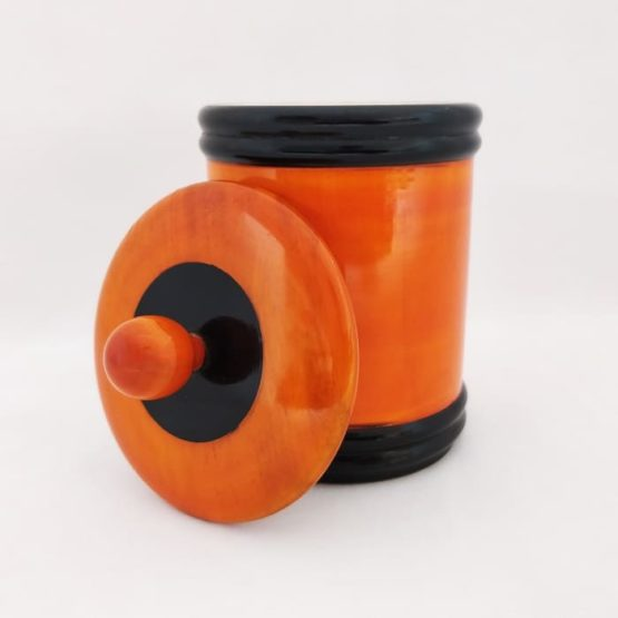 Channapatna Eco-friendly Medium Jar With Lid (Orange and Black) 2