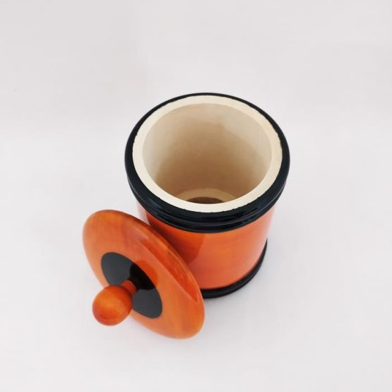 Channapatna Eco-friendly Medium Jar With Lid (Orange and Black) 3