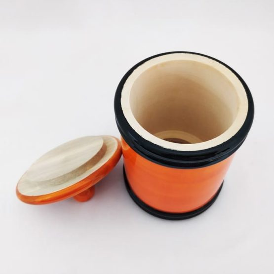 Channapatna Eco-friendly Medium Jar With Lid (Orange and Black) 4