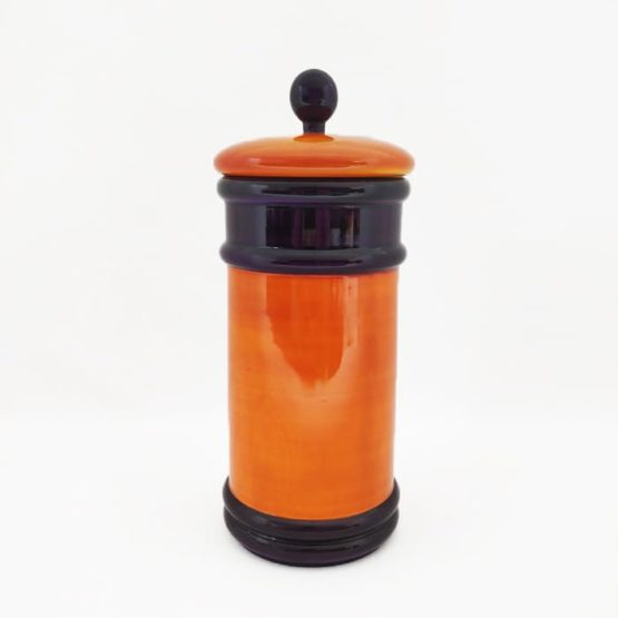 Channapatna Eco-friendly Medium Jar With Lid (Orange and Purple) 1