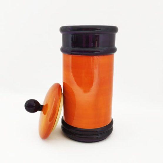 Channapatna Eco-friendly Medium Jar With Lid (Orange and Purple) 2