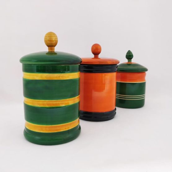 Channapatna Eco-friendly Medium Jar With Lid - Set of 3 A