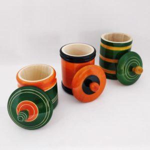 Channapatna Eco-friendly Medium Jar With Lid - Set of 3 B