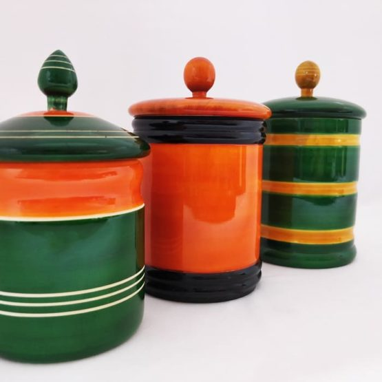 Channapatna Eco-friendly Medium Jar With Lid - Set of 3 D