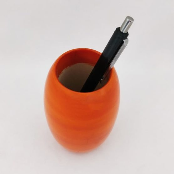Channapatna Eco-friendly Oval Shape Pen Stand (Orange) 3