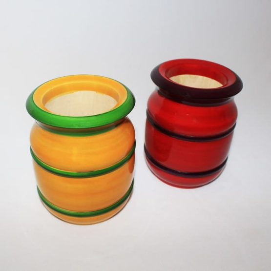 GiTAGGED Channapatna Eco-friendly Flower Vase Set of 2 - Red & Yellow 1
