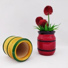 GiTAGGED Channapatna Eco-friendly Flower Vase Set of 2 - Red & Yellow 2