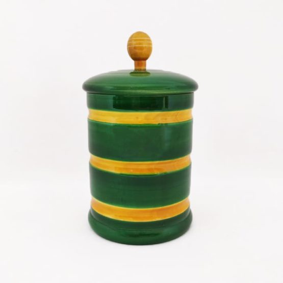 GiTAGGED Channapatna Eco-friendly Medium Jar With Lid (Green and Yellow) 1