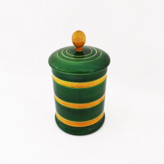 GiTAGGED Channapatna Eco-friendly Medium Jar With Lid (Green and Yellow) 2