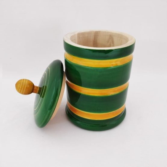 GiTAGGED Channapatna Eco-friendly Medium Jar With Lid (Green and Yellow) 3