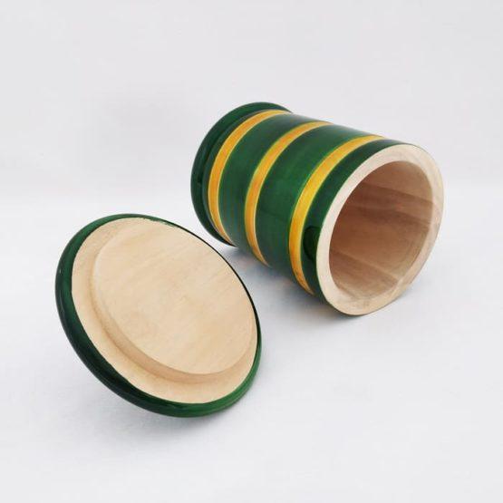 GiTAGGED Channapatna Eco-friendly Medium Jar With Lid (Green and Yellow) 4