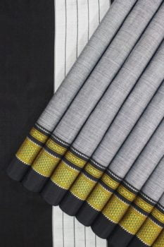 Handloom Black-Grey Cotton-Silk Saree Online 1