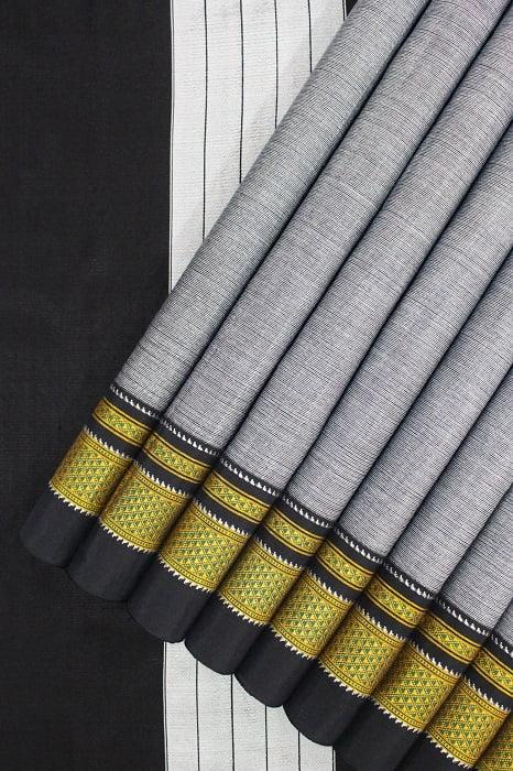 Handloom Black-Grey Cotton-Silk Saree Online 1