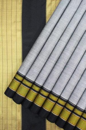 Handloom Grey Cotton-Silk Saree Online 1