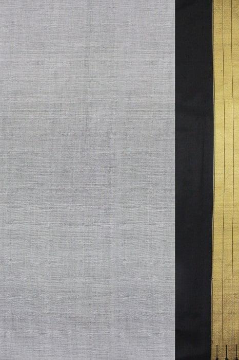 Handloom Grey Cotton-Silk Saree Online 2