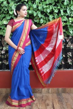 Ilkal Blue with Maroon Border Cotton-Silk Saree 1