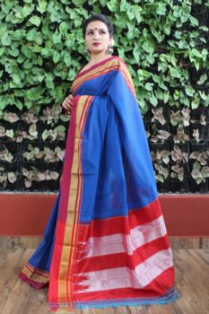 Ilkal Blue with Maroon Border Cotton-Silk Saree 2