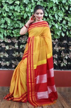 Ilkal Cheddar with Red Border gayathri Cotton Saree 1