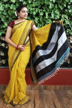 Ilkal Corn with Fren Shade Border Cotton-Silk Saree 1